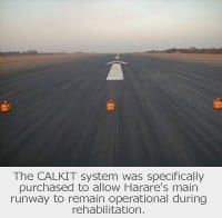 Picture of a runway in Zimbabwe with the Aeronautical & General Instruments (AGI) Ltd CALKIT on it
