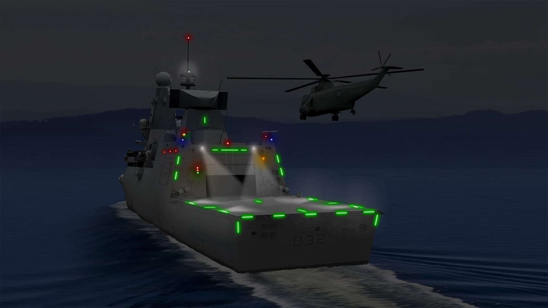 Interactive ship showing helicoptor landing using Aeronautical & General Instruments (AGI) Ltd Visual Landing Aid Lights