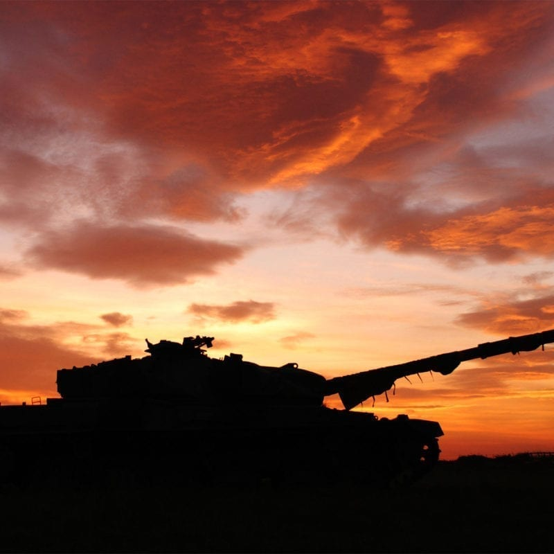 Tank with sunset
