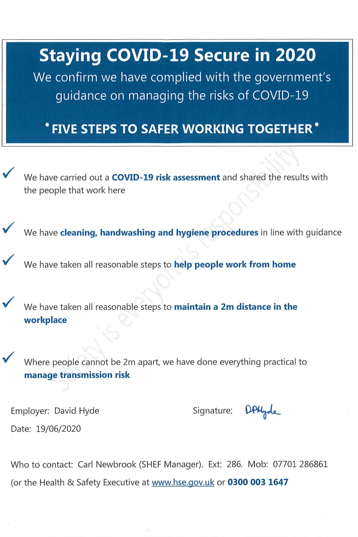 Poster stating AGI's 5 steps to being COVID19 secure